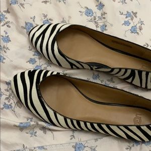 Zebra real hair cow leather flat shoes